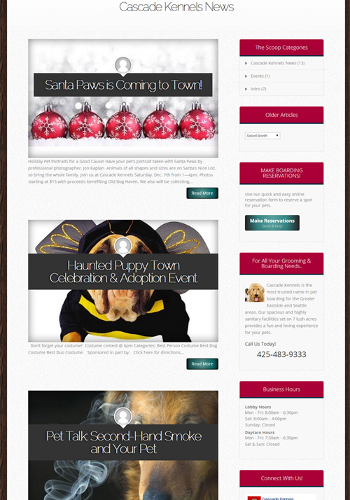 Cascade Kennels Website Design by Brian Sniff